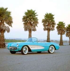 Check out da '57 Vette dat Andy rented fuw us tu go tu da sock hop in.