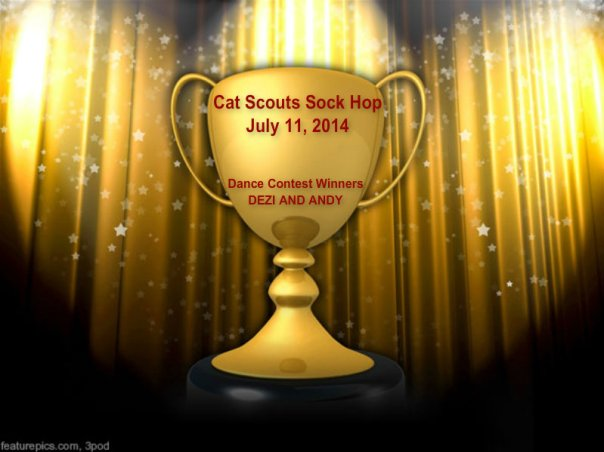 Andy and me won da dance contest at da Cat Scouts Sock Hop