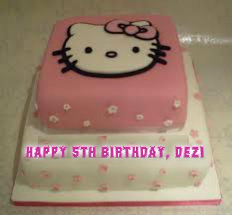 And Lookit da bootyful cake he bwought me.