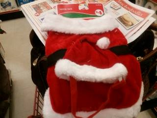 This wuz da Santa suit. Meez tellin' ya' ifin they had a lawge yous wuld be seein' me in it wight now.