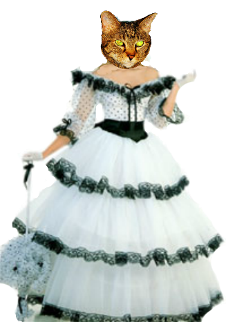 Lexi in white ball gown with black accents