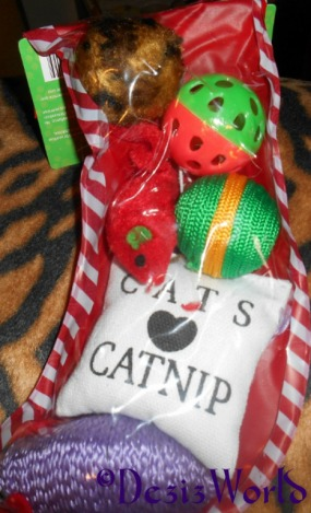Christmas stocking full of toys from awnty Sylvie, Cleo, Mika and Patteron