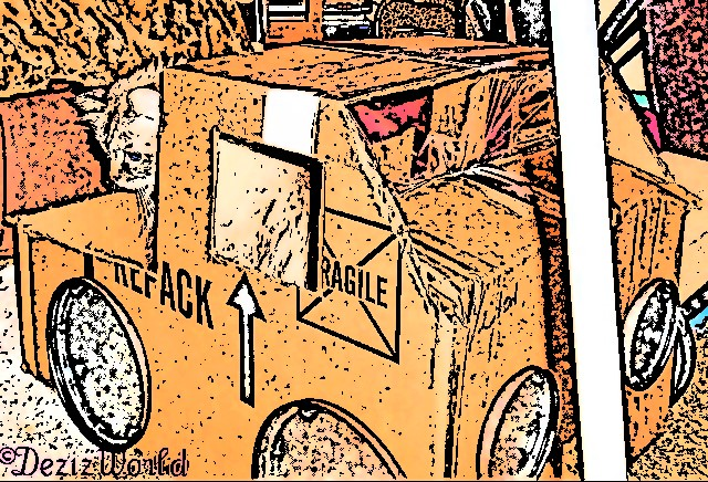 Dezi looks over the side of her derby truck box, cartoonized