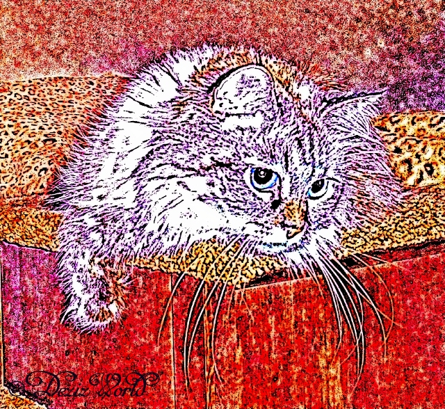 Dezi laying on the steps in a colored sketch photo