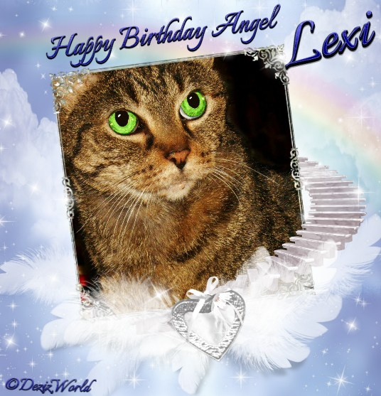 Happy Birthday to angel Lexi in a heavenly frame with wings