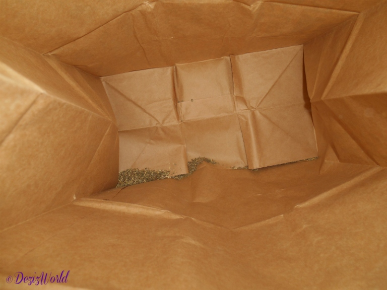 catnip inside paper bag