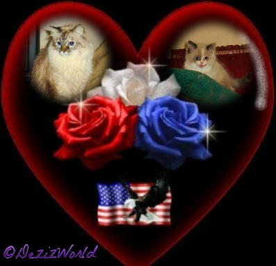 Dezi and Raena in a heart frame with roses and the American flag with an eagle and roses.
