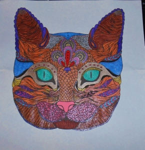 Cat face coloring page