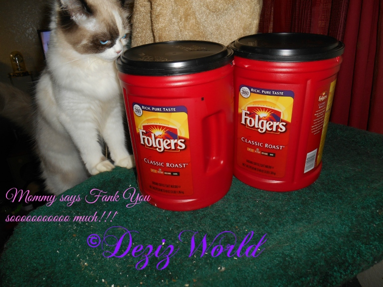 Raena sniffing gifted Folgers coffee