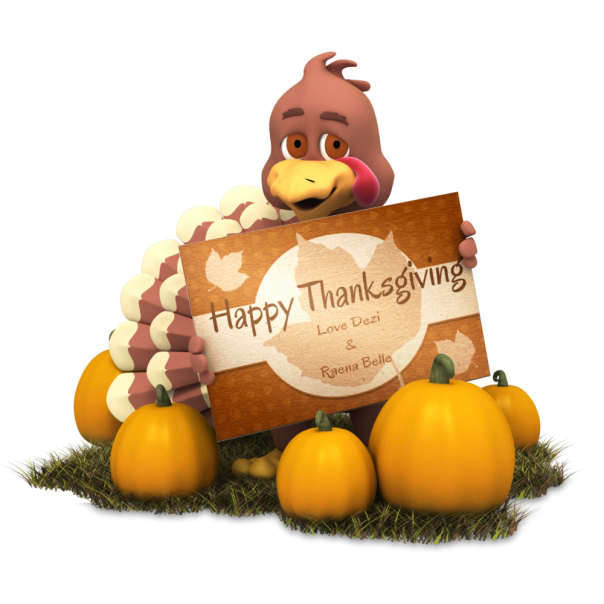 Thanksgiving card with turkey and pumpkins from Nellie