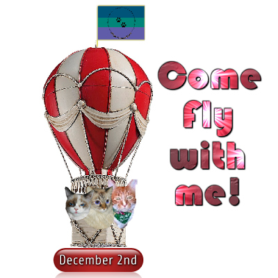 Raena, Dezi and Sammy in hot air balloon on the Come Fly With me badge