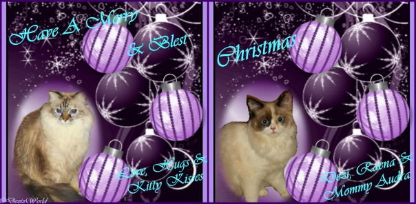 Dezi and Raena's Purple Christmas card
