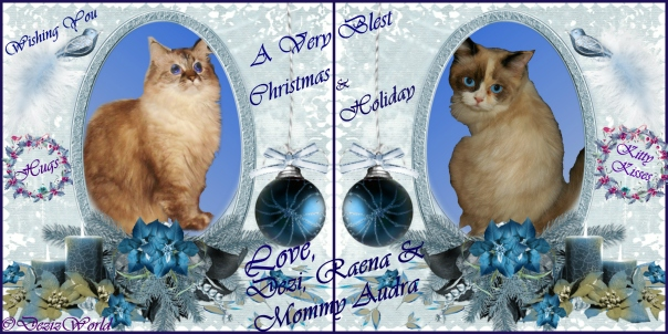 Dezi and Raena wish everyone a Merry and Blest Christmas card