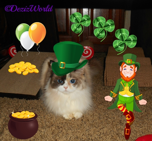 Raena in green irish hat with leprechaun, pot of gold and surrounded by clovers