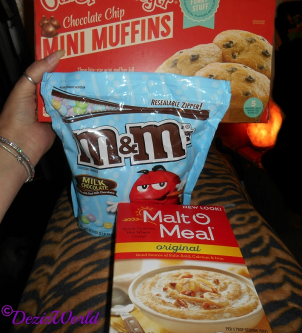 Malt O Meal, M&M's, and chocolate Mini Muffins gift