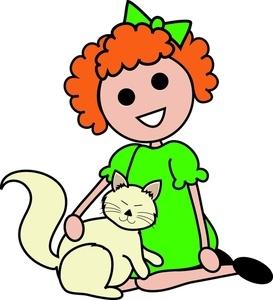 Girl pets cat clip art