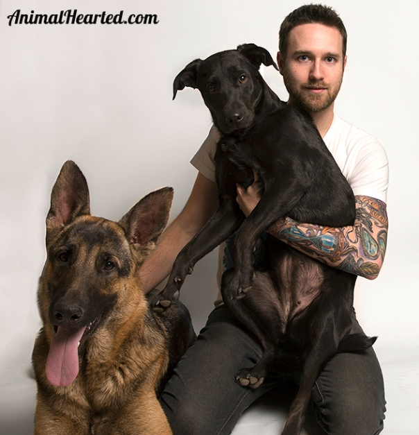 Aaron Seminoff with his 2 rescue dogs