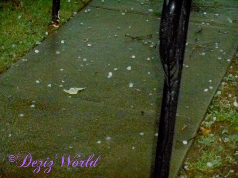 hail on the sidewalk