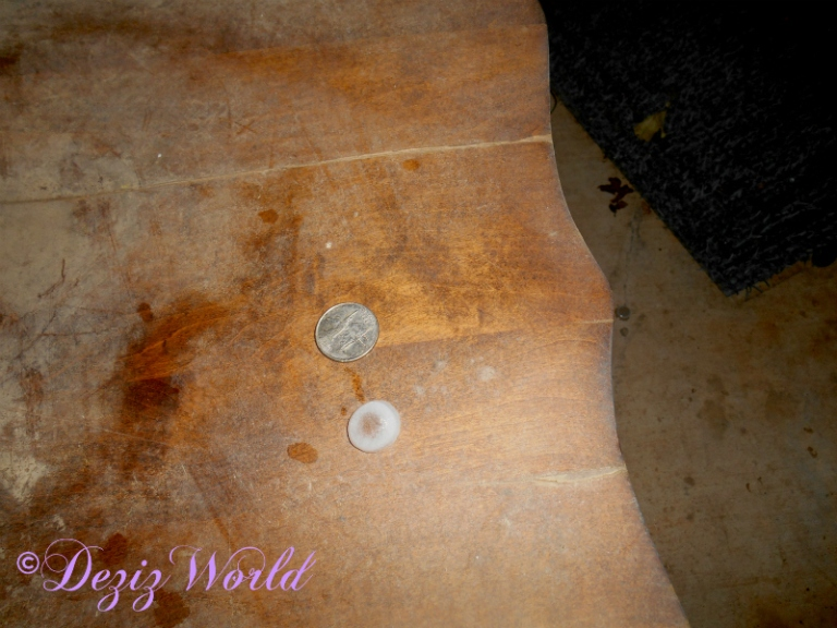 Piece of hail beside a quarter