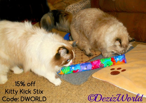 Discount code with Dezi and Raena together on either end of the Kitty Kick Stix