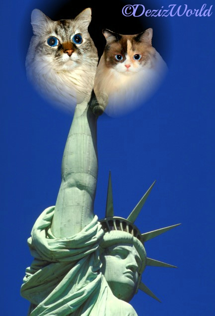 Dezi and Raena in the flame or the Statue of Liberty