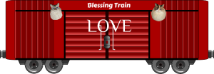 Dezi and Raena on the Blessing Train boxcar with Love Blessing