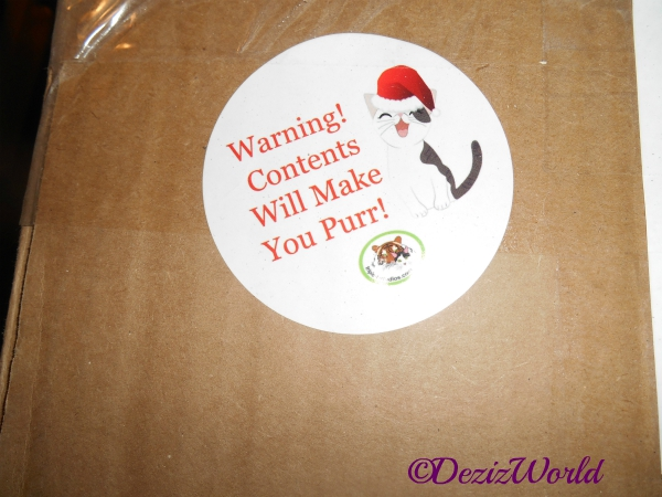 Purr Warning sticker on gift box from Valentine and Kerry