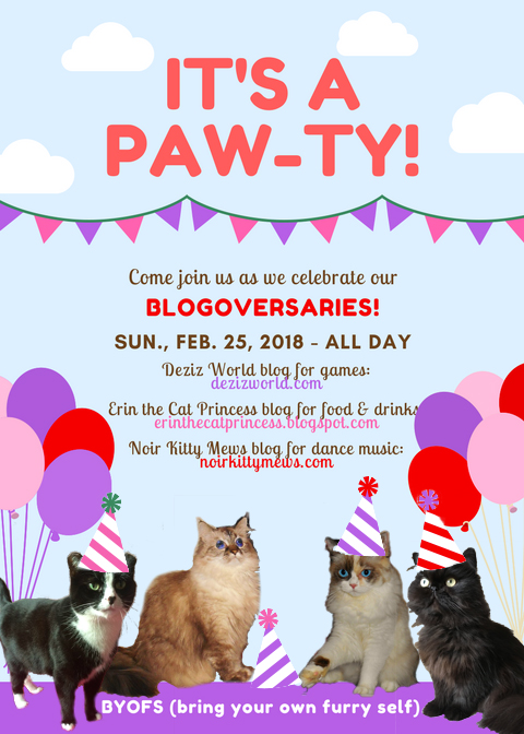 Blogoversary invite to DezizWorld, Erin the Cat Princess and Valentine's blog