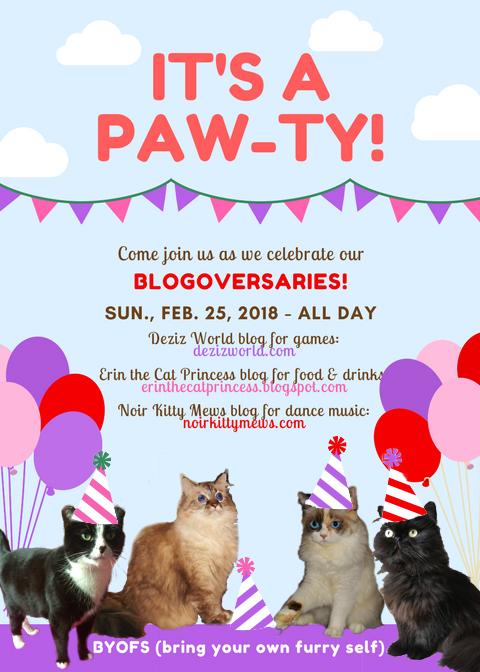 Blogoversary invite to DezizWorld, Erin the Cat Princess and Valentine's blog