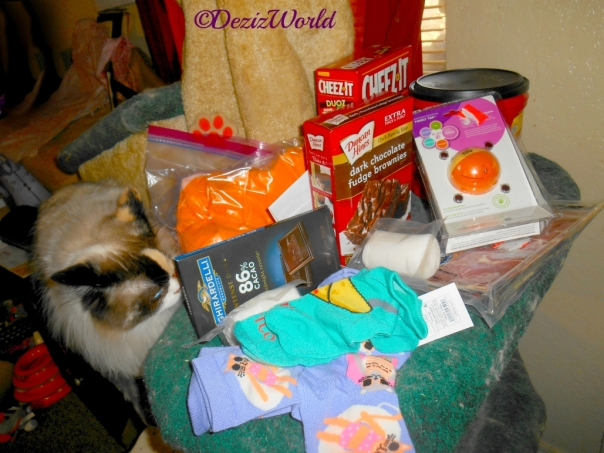 Raena checks out all the goodies Cindy sent in the gift box