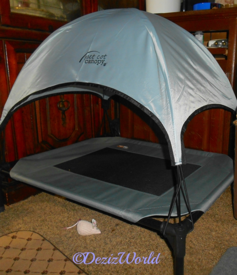 Canopied pet cot from K & H pet products