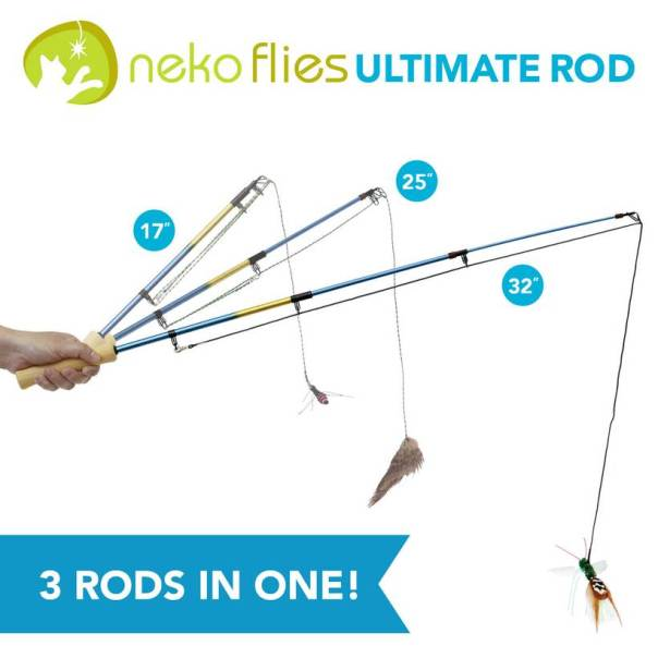 Necko flies ultimate rod cat toy