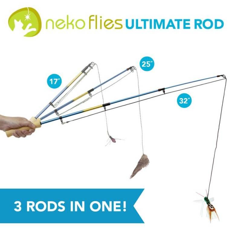 Necko flies ultimate rod cat toy