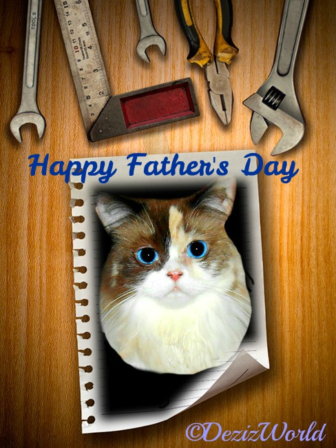 Raena on wood plank frame with tools for Father's day