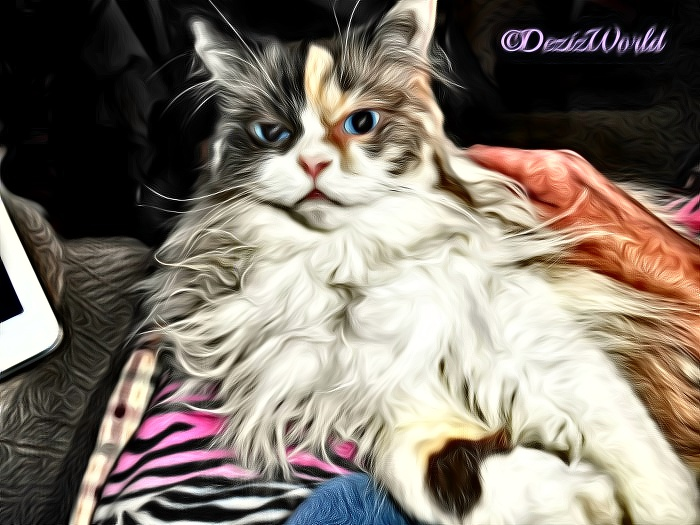 Raena lays in mommy's lap with oil painting effect