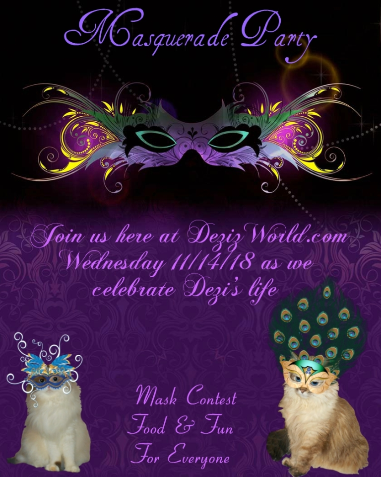 Dezi and Raena on party invitation for the Masquerade party