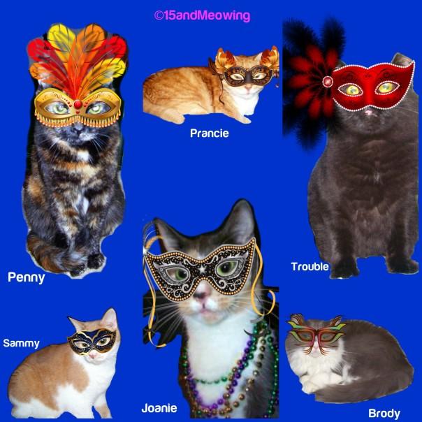 Penny, Prancie, Trouble, Brody, Sammy, Joanie in masks