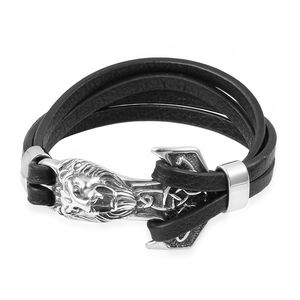 Lion head leather bracelet