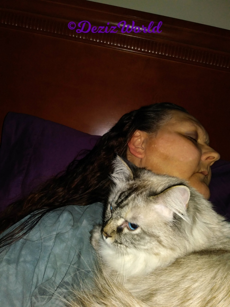 Dezi lays on mommy A's chest