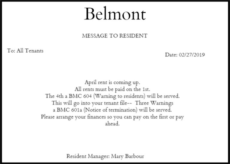 illegal rent notice