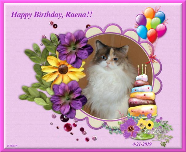 Raena birthday card from pipo dalton benji