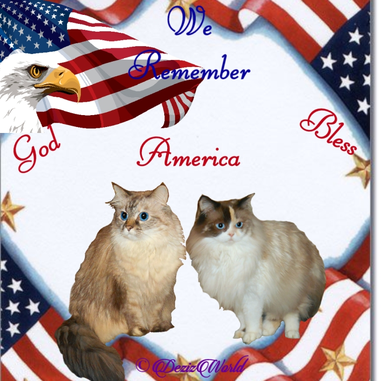 Dezi and Raena in a patriotic frame that says we remember, God Bless America
