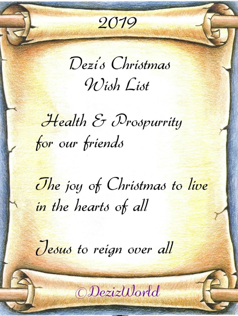 Dezi's 2019 Christmas wish list