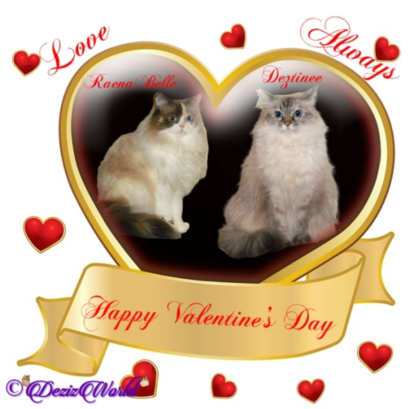 Dezi and Raena in Valentine's day frame