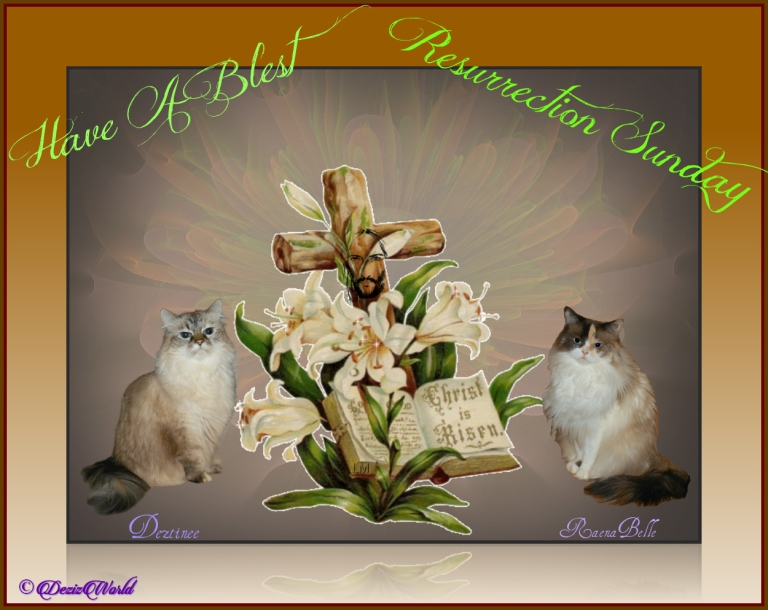Dezi and Raena in Resurrection Sunday Frame with cross