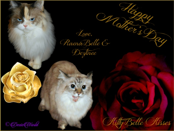 Dezi and Raena in mother's day frame with roses