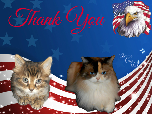 Raena and Zebby in patriotic thank you frame